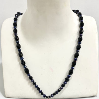Black Onyx and Freshwater Peacock Pearl Graduated Beaded Necklace