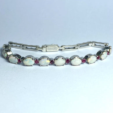 Vintage 9ct White Gold Solid Opal and Ruby Bracelet