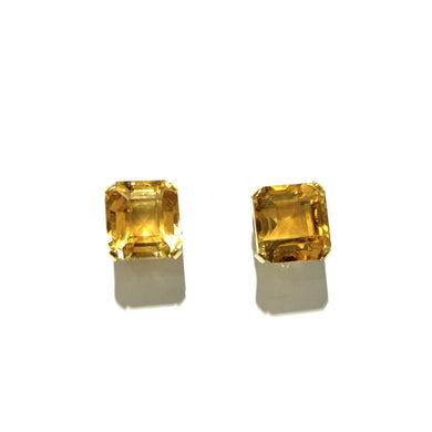 9ct Yellow Gold Citrine Screw On Earrings