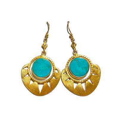 Sterling Silver Gold Plate Turquoise Drop Earrings