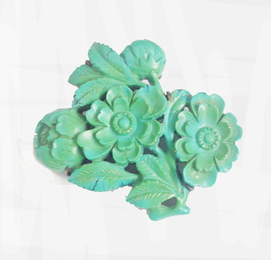 Natural Carved Turquoise Brooch in Sterling Silver