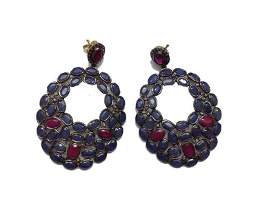 Sapphire and Ruby Gold-Plated Earrings