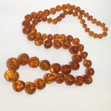 Vintage Natural Baltic Amber Graduated Beaded Necklace