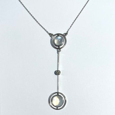 9ct White Gold Moonstone and Diamond Necklace