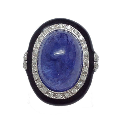 18ct White Gold Cabochon Tanzanite, Diamond and Onyx Cocktail Ring