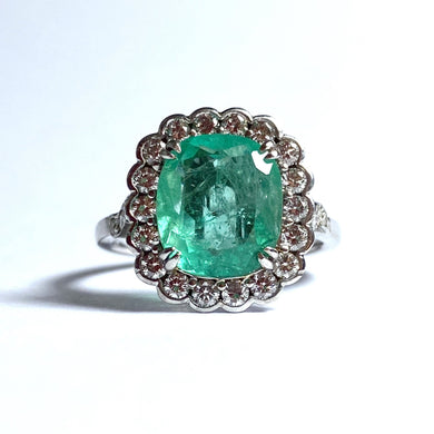 9ct White Gold 4.5ct Emerald and Diamond Cocktail Ring