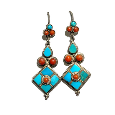 Vintage Sterling Silver Turquoise and Coral Drop Earrings