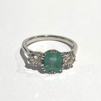 9ct White Gold Emerald and Diamond Trilogy Ring