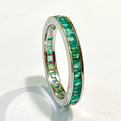 9ct White Gold Emerald Eternity Band