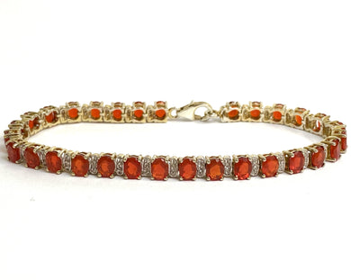 9ct Yellow Gold Mexican Fire Opal and Diamond Bracelet