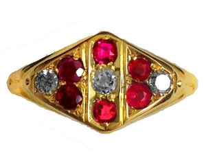 Antique 18ct Yellow Gold Ruby and Diamond Signet Ring