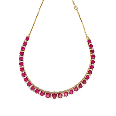 Vintage 18ct Yellow Gold 28ct Ruby and Diamond Graduated Collar Necklace
