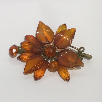 Vintage Natural Baltic Amber Floral Brooch