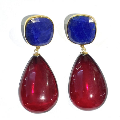 9ct Yellow Gold Lapis Lazuli and Cherry Red Amber Stud Drop Earrings