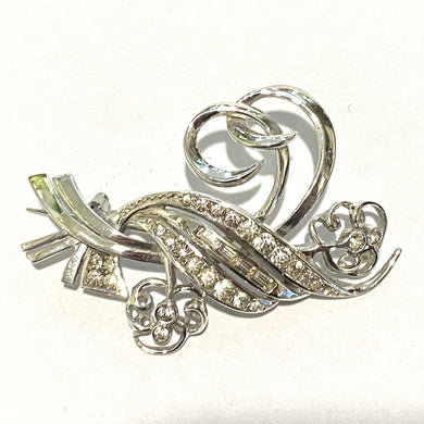 Antique Sterling Silver White Sapphire Brooch