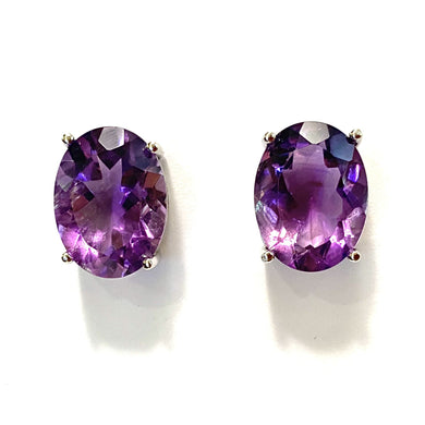 9ct White Gold Amethyst Stud Earring