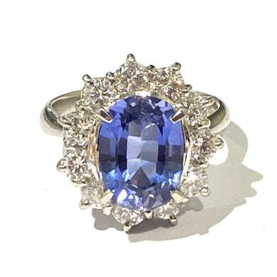Platinum 5.30ct Ceylonese Sapphire and Diamond Cocktail Ring