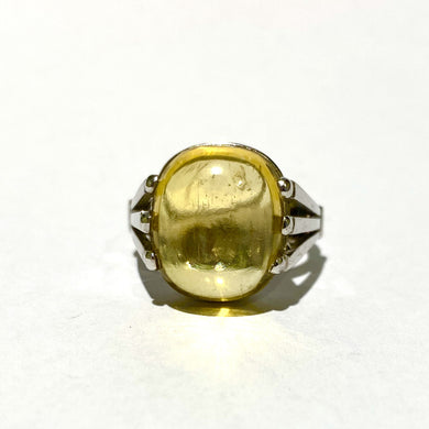 18ct White Gold 9.75ct Cabochon Yellow Beryl Dress Ring