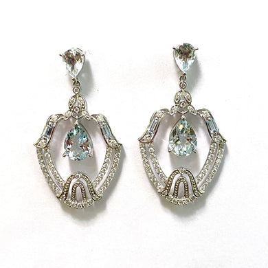 9ct White Gold Aquamarine and Diamond Drop Earrings