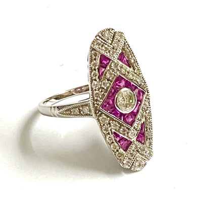 9ct White Gold Ruby and Diamond Cocktail Ring