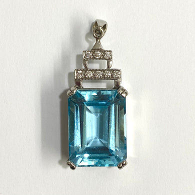 9ct White Gold 20ct Swiss Blue Topaz and Diamond Pendant