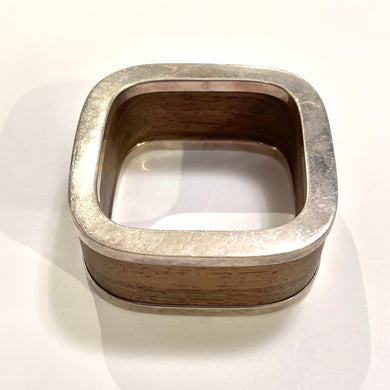 Vintage Sterling Silver and Wooden Cube Bangle