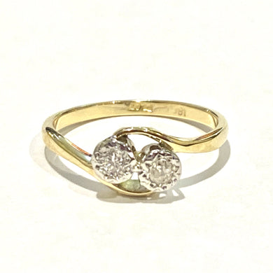 Antique 18ct Yellow Gold Twin Old Cut Diamond Ring