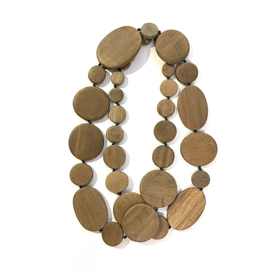 Vintage Multi-Strand Wooden Beaded Necklace
