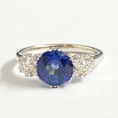 9ct White Gold 2.25ct Ceylon Sapphire and Diamond Trilogy Ring