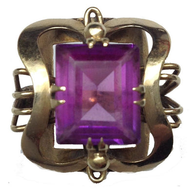 Vintage 9ct Yellow Gold Square Amethyst Cocktail Ring