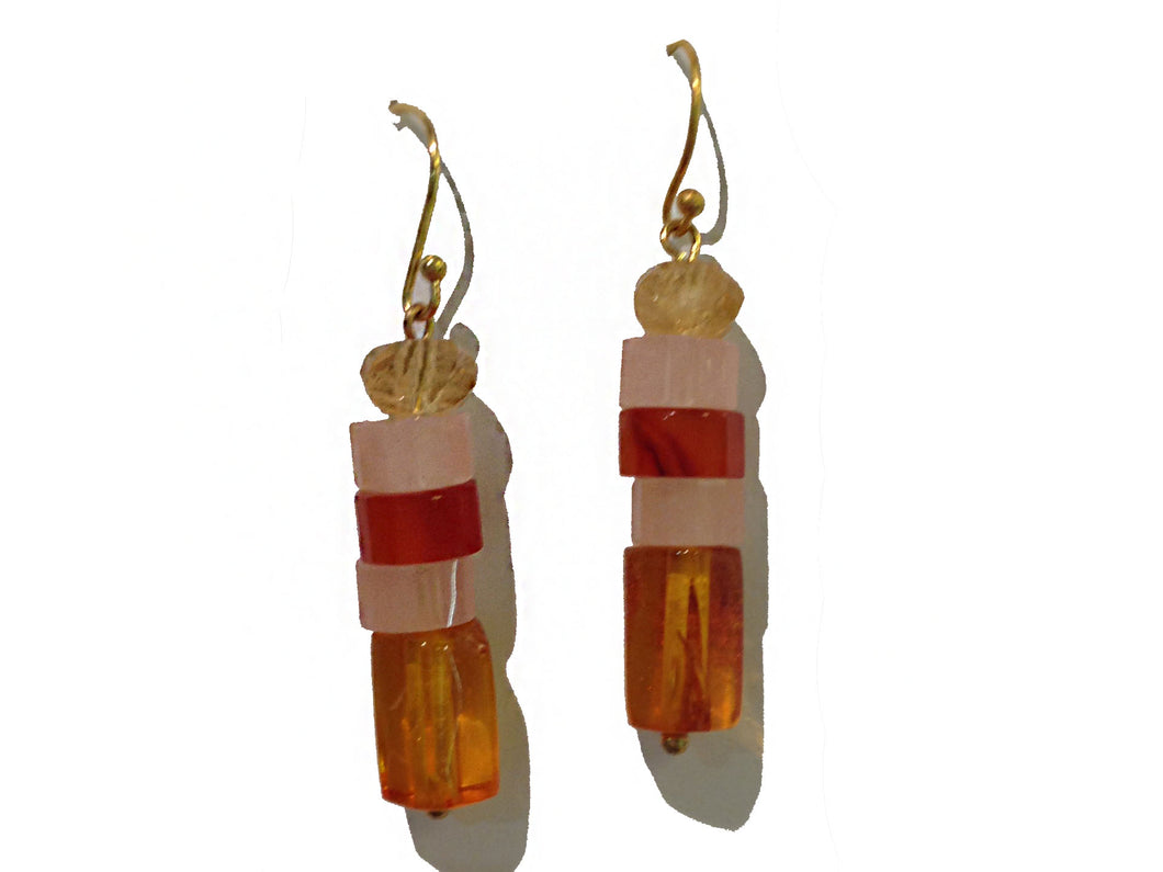 Sterling Silver Amber, Rose Quartz and Carnelian Drop Earrings