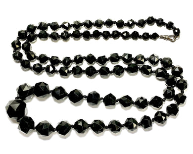 Antique Whitby Jet Beaded Opera Length Necklace