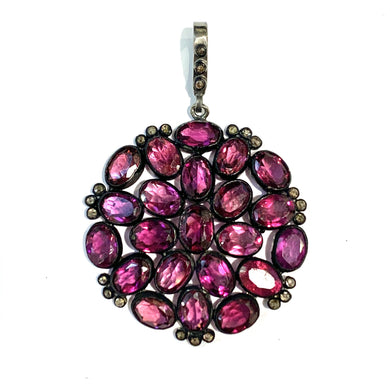Sterling Silver Victorian Rhodolite Garnet and Rose cut Diamond Pendant