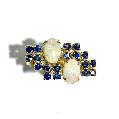 Vintage 18ct Yellow Gold Solid White Opal and Sapphire Cocktail Ring