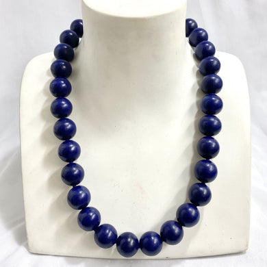 Sterling Silver Deep Blue Wood Beaded Necklace