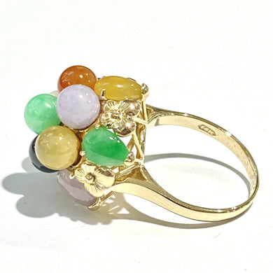 Vintage 14ct Yellow Gold Assorted Jadeite Cluster Cocktail Ring