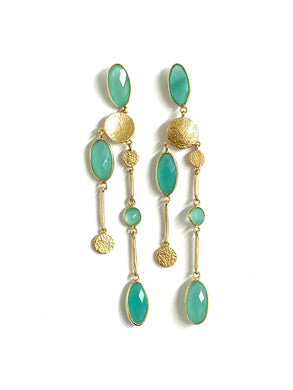 Sterling Silver, Gold Plate Blue Chalcedony Drop Earring