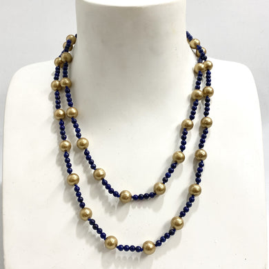 Sterling Silver Lapis Lazuli and Gold Beaded Necklace