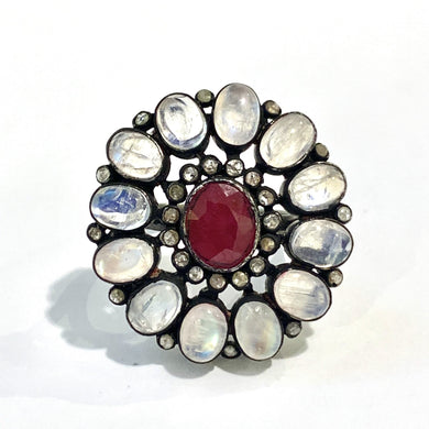 Sterling Silver Ruby, White Rainbow Moonstone and Rose cut Diamond Cocktail Ring