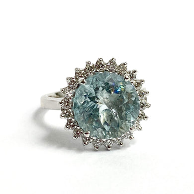 9ct White Gold 5ct Aquamarine and Diamond Ring