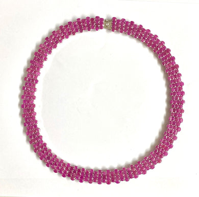 Sterling Silver Natural Ruby 192ct Collar Necklace