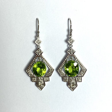 9ct White Gold Peridot and Diamond Drop Earrings