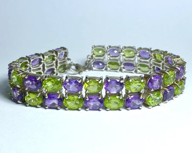 Sterling Silver Peridot and Amethyst Bracelet