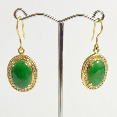 18ct Yellow Gold Jadeite and Diamond Drop Earrings