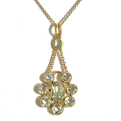 Antique 18ct Yellow Gold Aquamarine Necklace