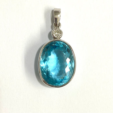 9ct White Gold 15ct Swiss Blue Topaz and Diamond Pendant