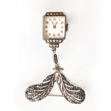 Antique Sterling Silver Marcasite Watch Brooch