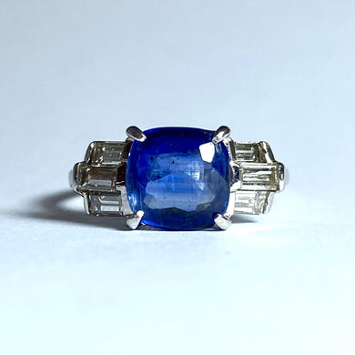 9ct White Gold 2.84ct Sapphire and Diamond Ring
