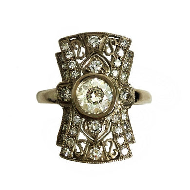 Antique 18ct White Gold 1.22ct Old Cut Diamond Belle Époque Dress Ring