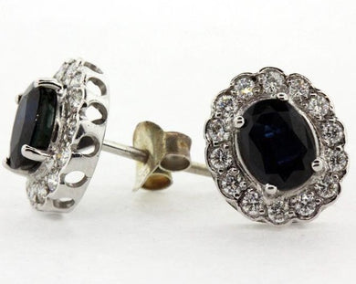 18ct White Gold Natural Sapphire and Diamond Stud Earrings